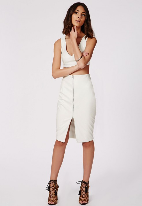 Missguided Snake Embossed Zip Front Faux Leather Midi Skirt White ...