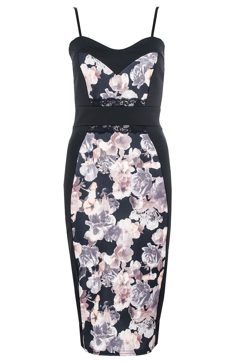 Quiz Floral Print Midi Dress In Black Lyst