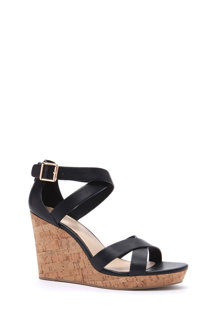 Forever 21 Faux Leather Wedges in Black | Lyst