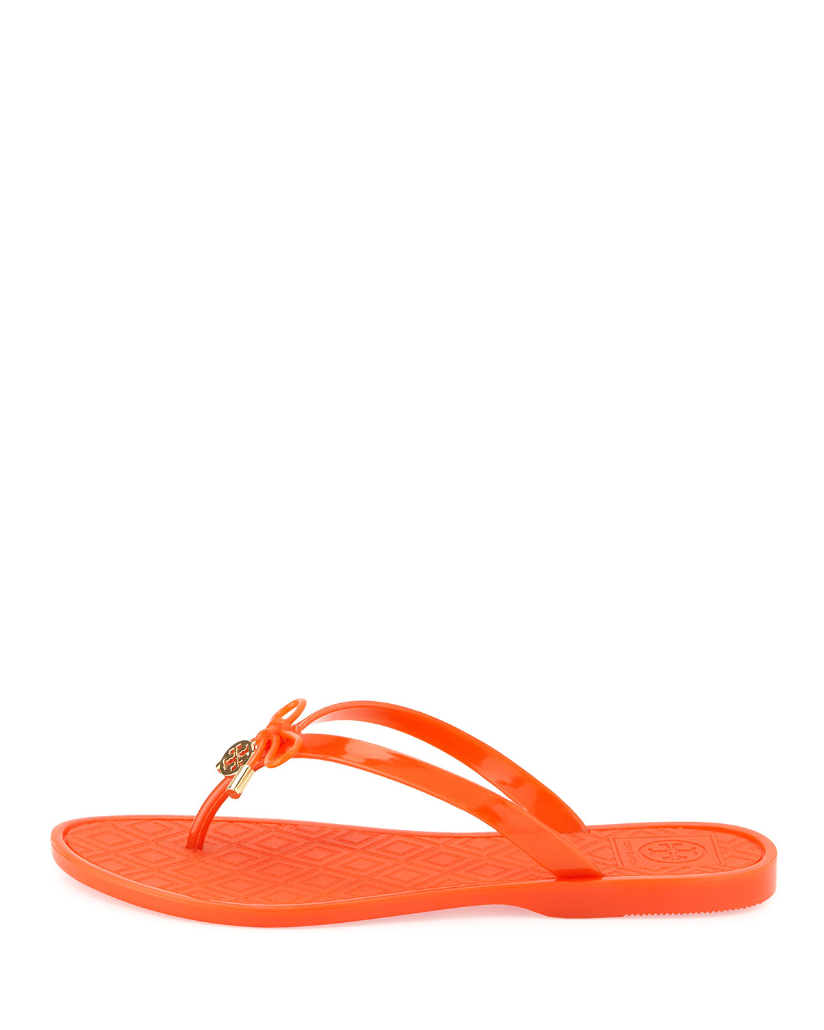 74bccb88bec22 Lyst - Tory Burch Jelly Bow Logo-Charm Thong Sandals in Orange