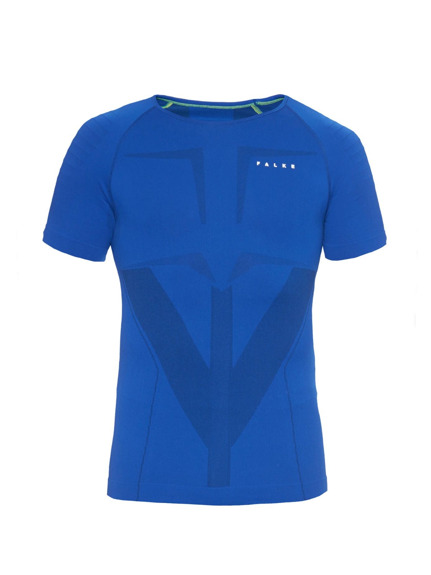 Falke base layer t shirt in blue for men lyst for Womens base layer shirt