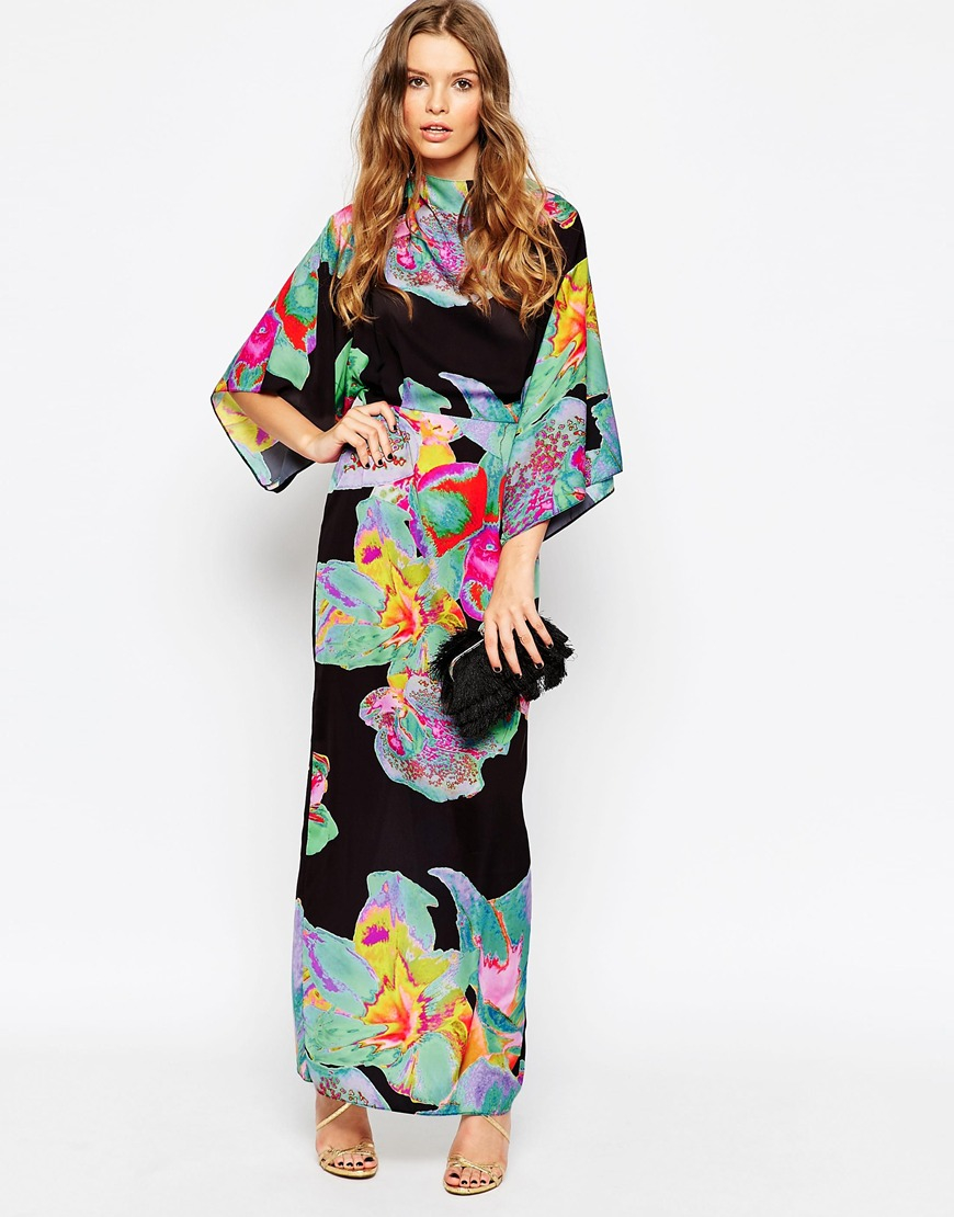 Lyst Asos 70 S Kimono Maxi Dress In Placed Black Floral