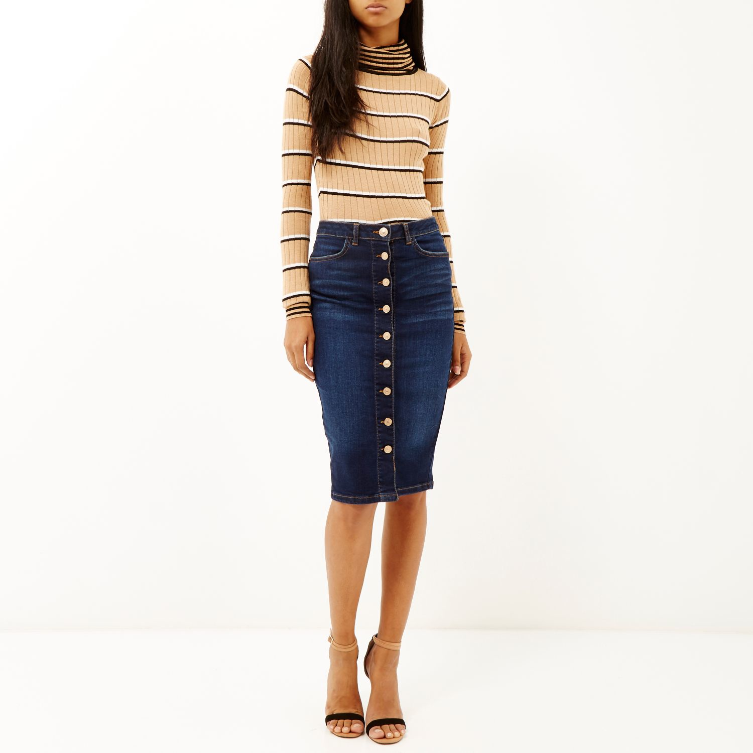 River island Dark Denim Button-up Midi Pencil Skirt in Blue | Lyst