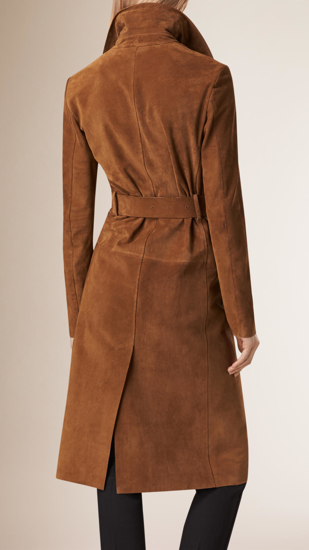 Lyst Burberry Embroidered Suede Trench Coat In Brown