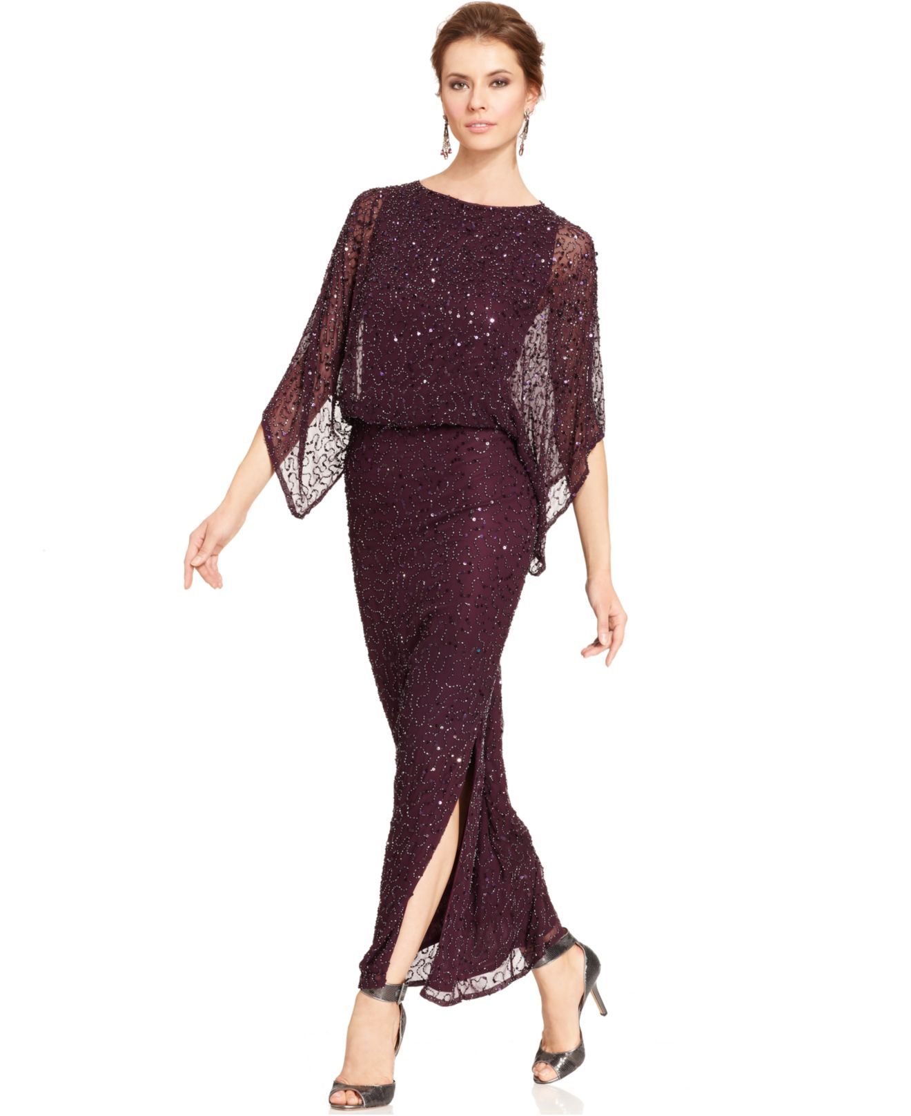 3a984f30320 Lyst - Patra Kimono-Sleeve Beaded Blouson Gown in Purple
