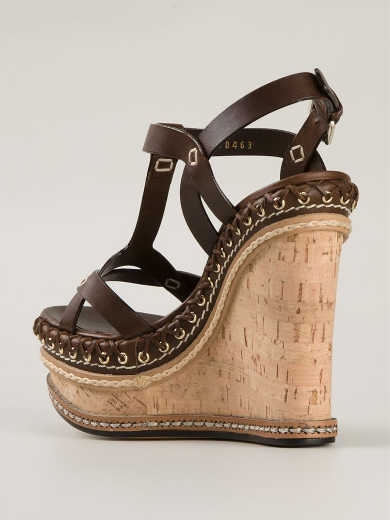 Casadei 70s Wedge Sandals In Brown Lyst