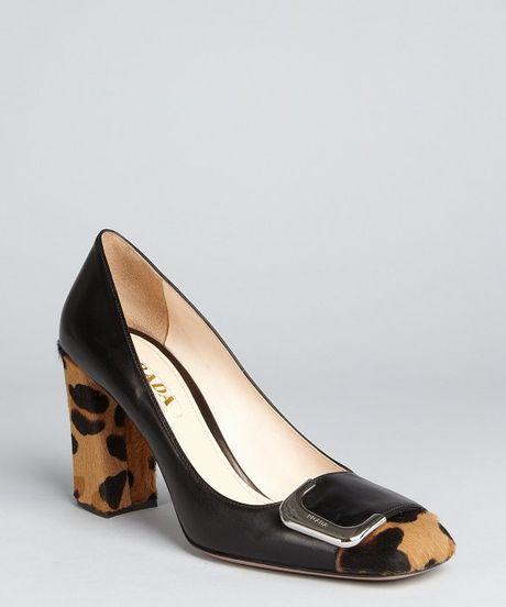 Prada Black Leather Leopard Print Calf Hair Block Heel