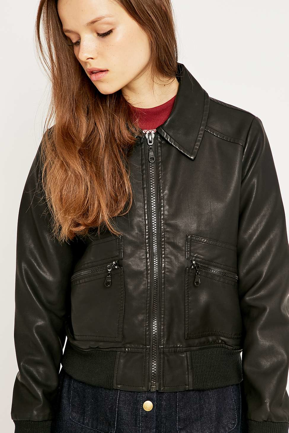 Black bomber jacket womens urban outfitters
