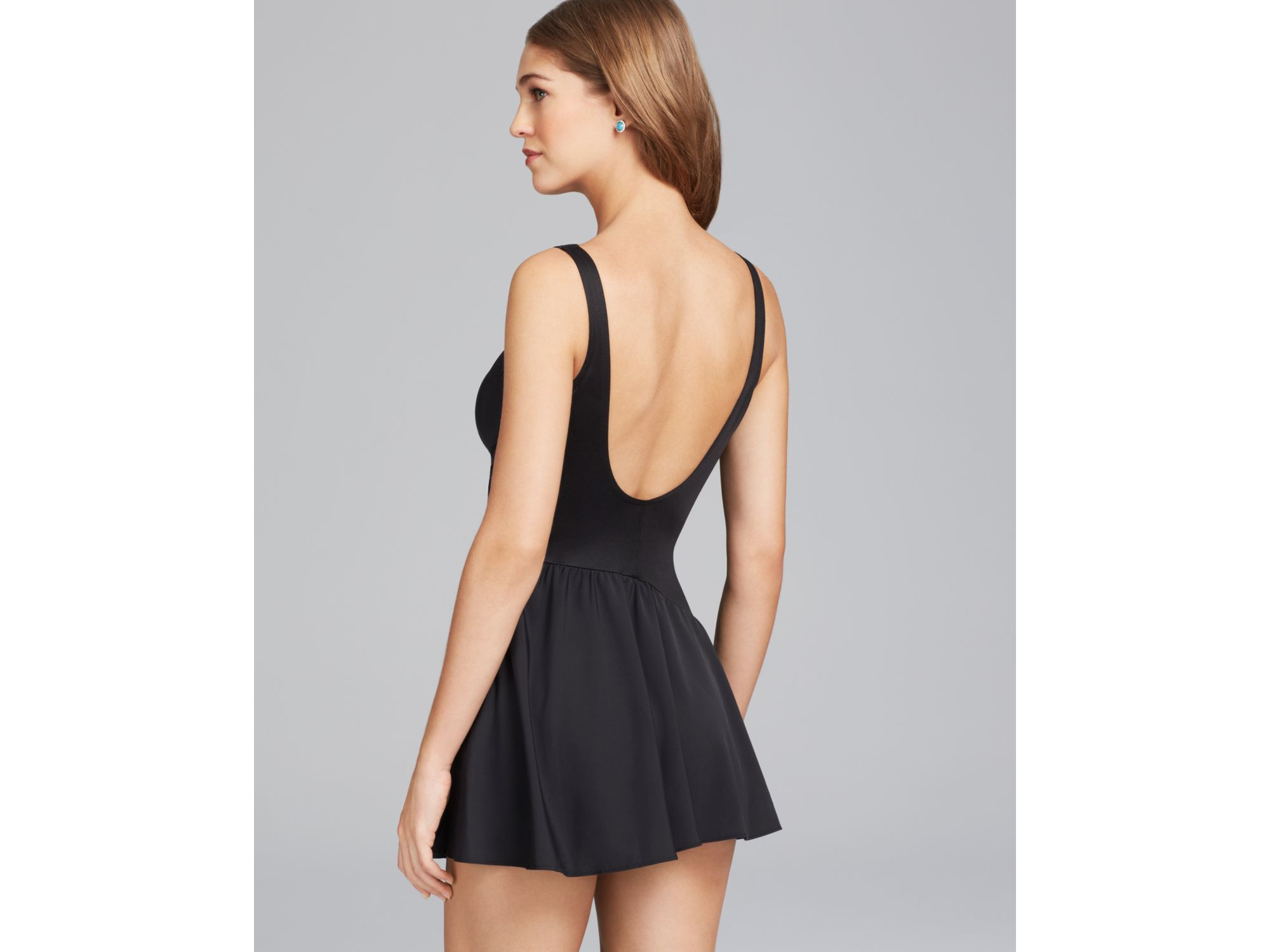 468bb8756c7 Miraclesuit Must Haves Aurora Skirted One Piece Swimdress in Black ...