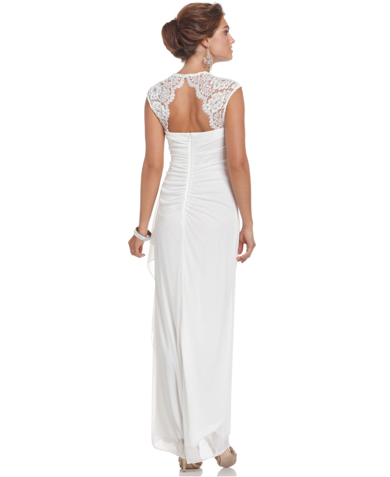 Lyst - Xscape Cap-Sleeve Lace Gown in White