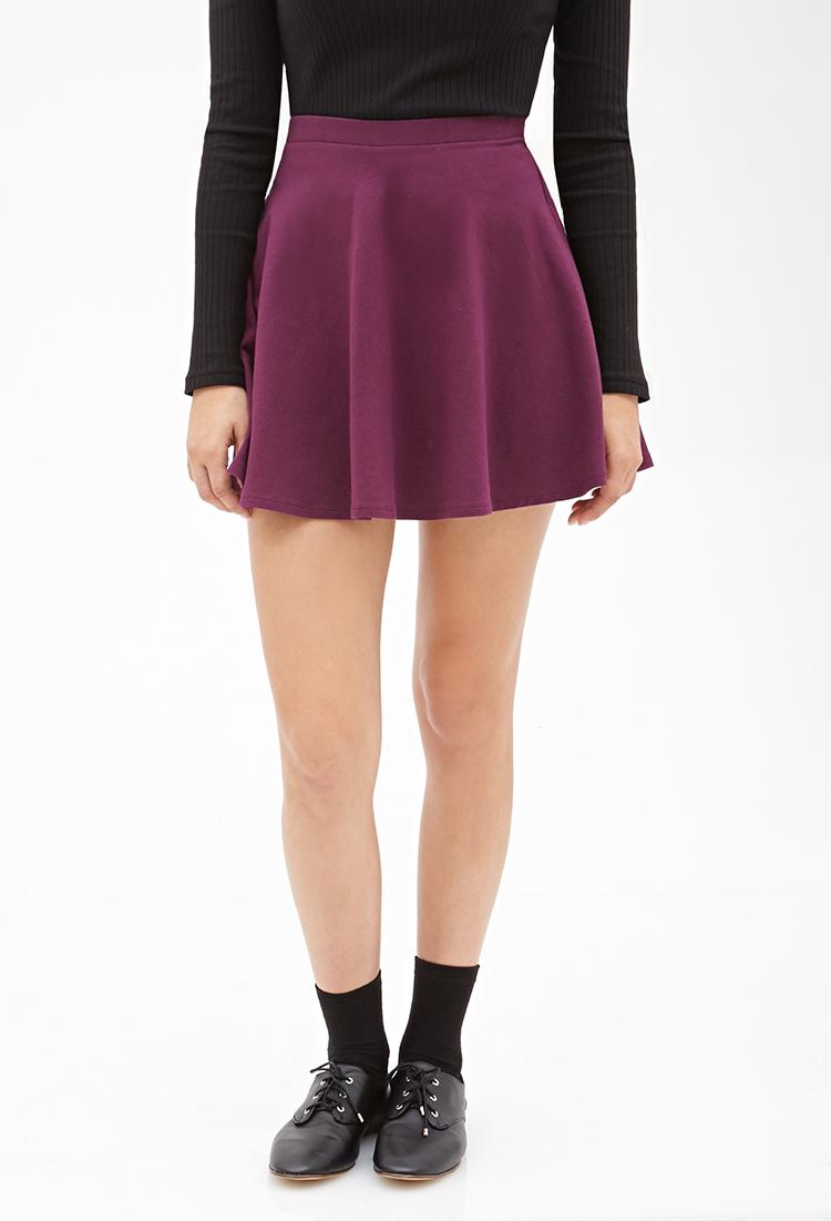 Forever 21 Classic Knit Skater Skirt in Purple - Lyst f44749fe3