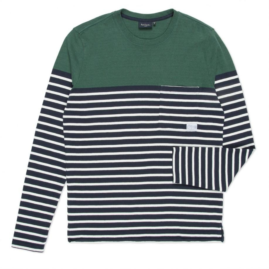 Paul Smith Navy And White Stripe Textured Long Sleeve T