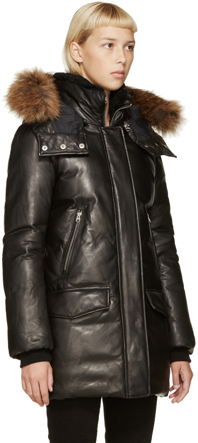 Mackage Black Leather Down Cressida Coat in Black | Lyst