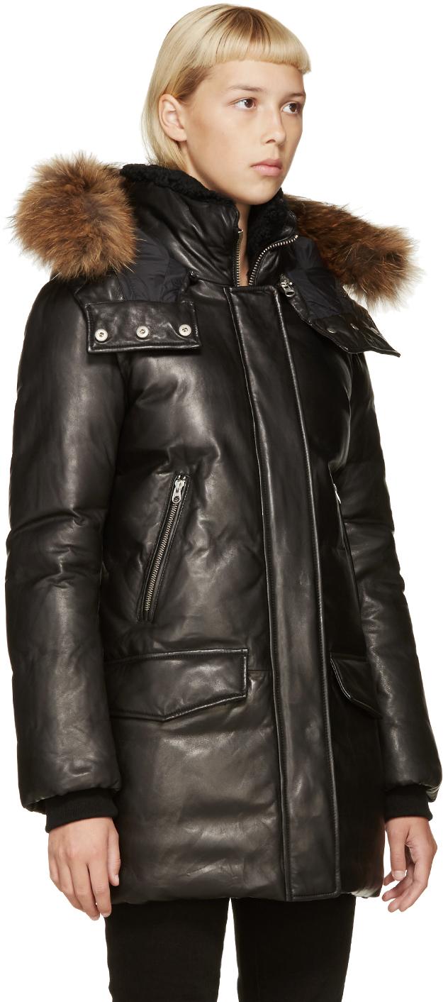 Mackage Black Leather Down Cressida Coat in Black | Lyst