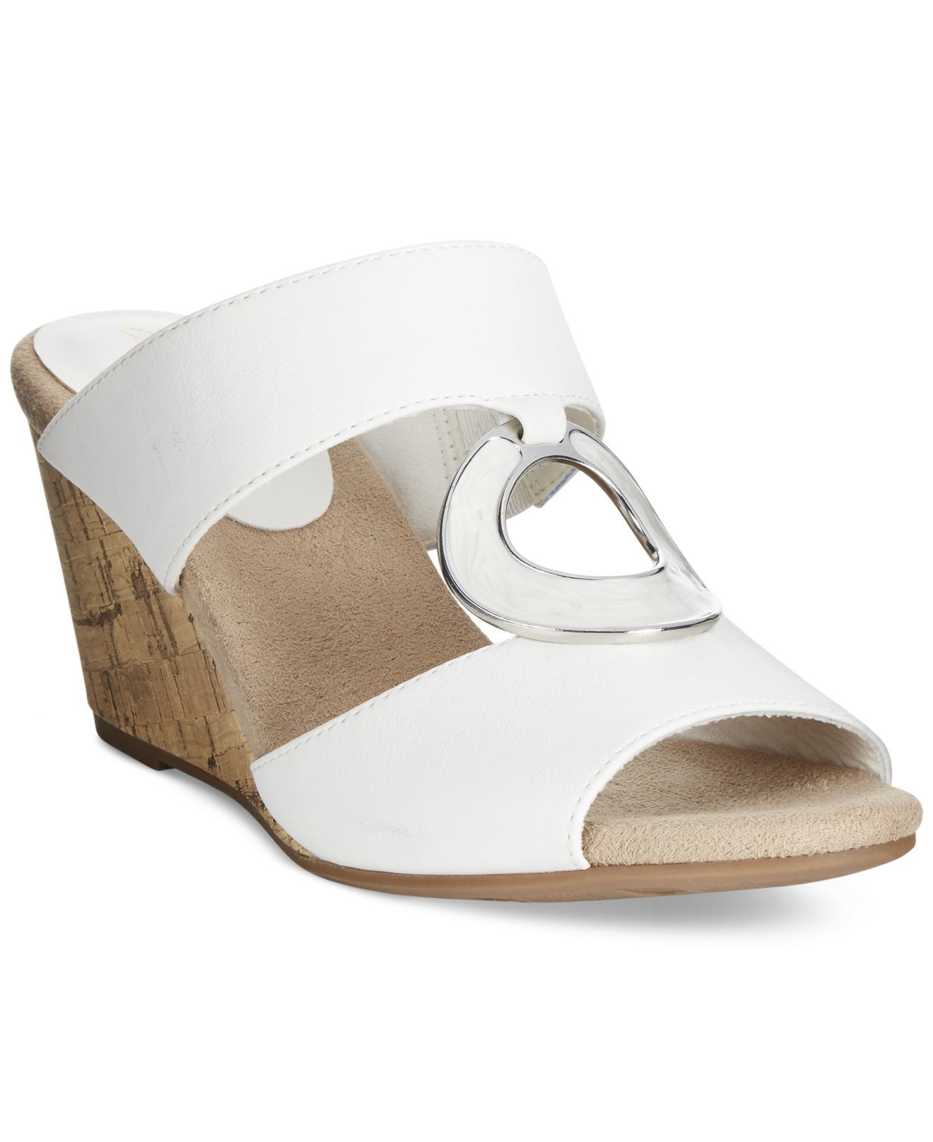 Easy Street Ever Mule Wedge Sandals In White Lyst