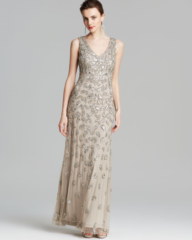 Lyst - Aidan Mattox Gown - Sleeveless V Neck Beaded in Metallic