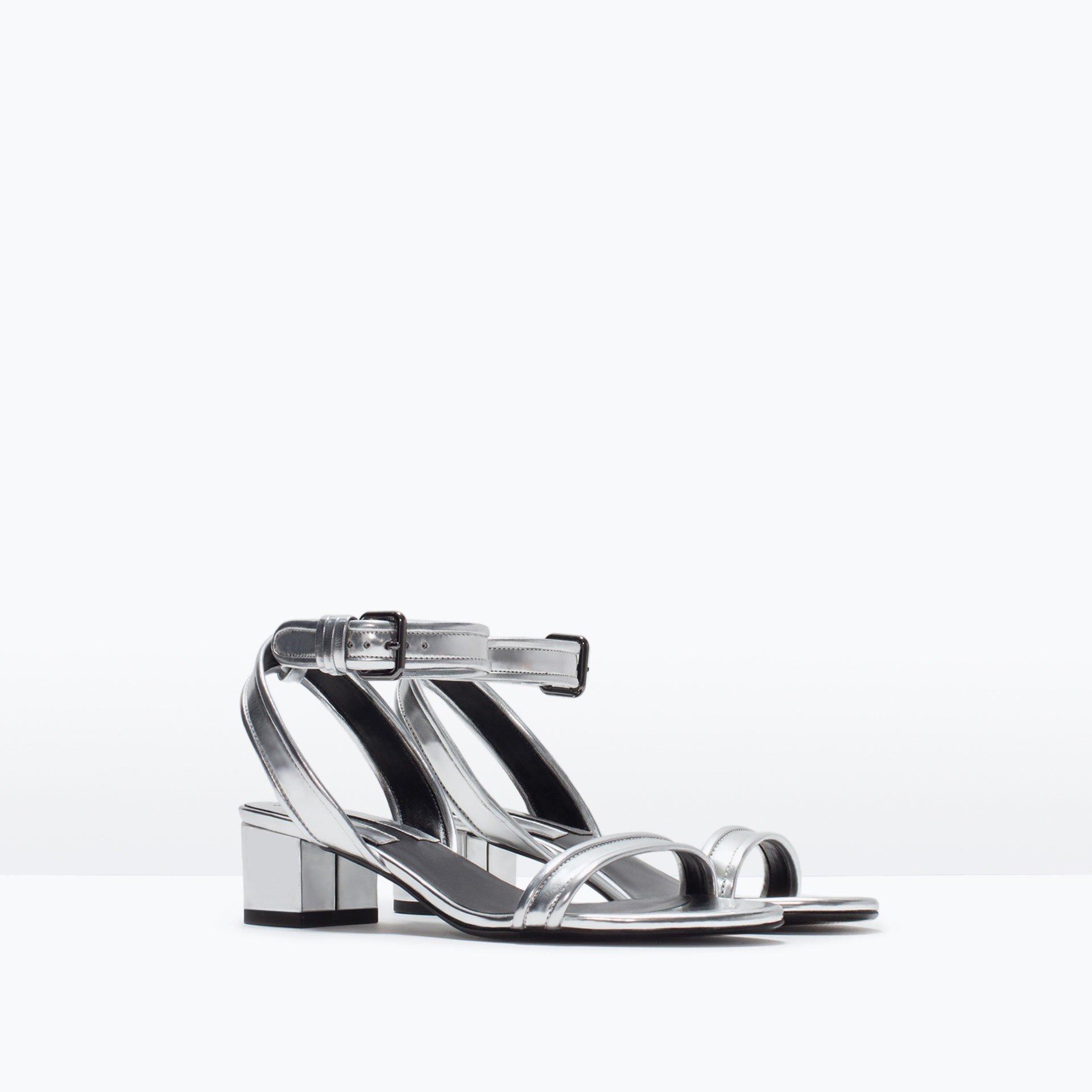 Zara Block Heel Ankle Strap Sandals Block Heel Ankle Strap