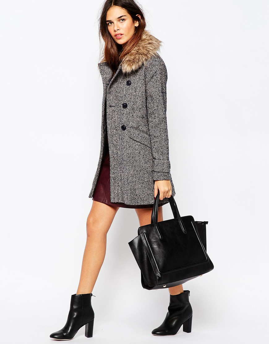 Warehouse Faux Fur Collar Coat