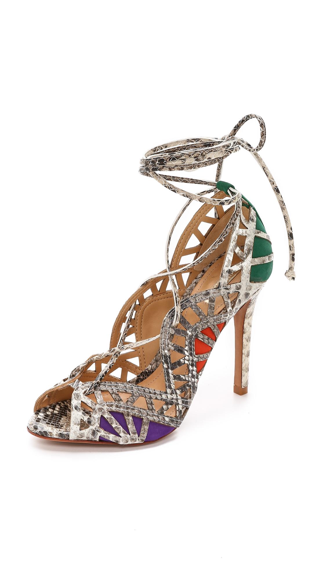 f3bd6036070 Lyst - Schutz Dubianna Lace Up Sandals - Pearl rosema