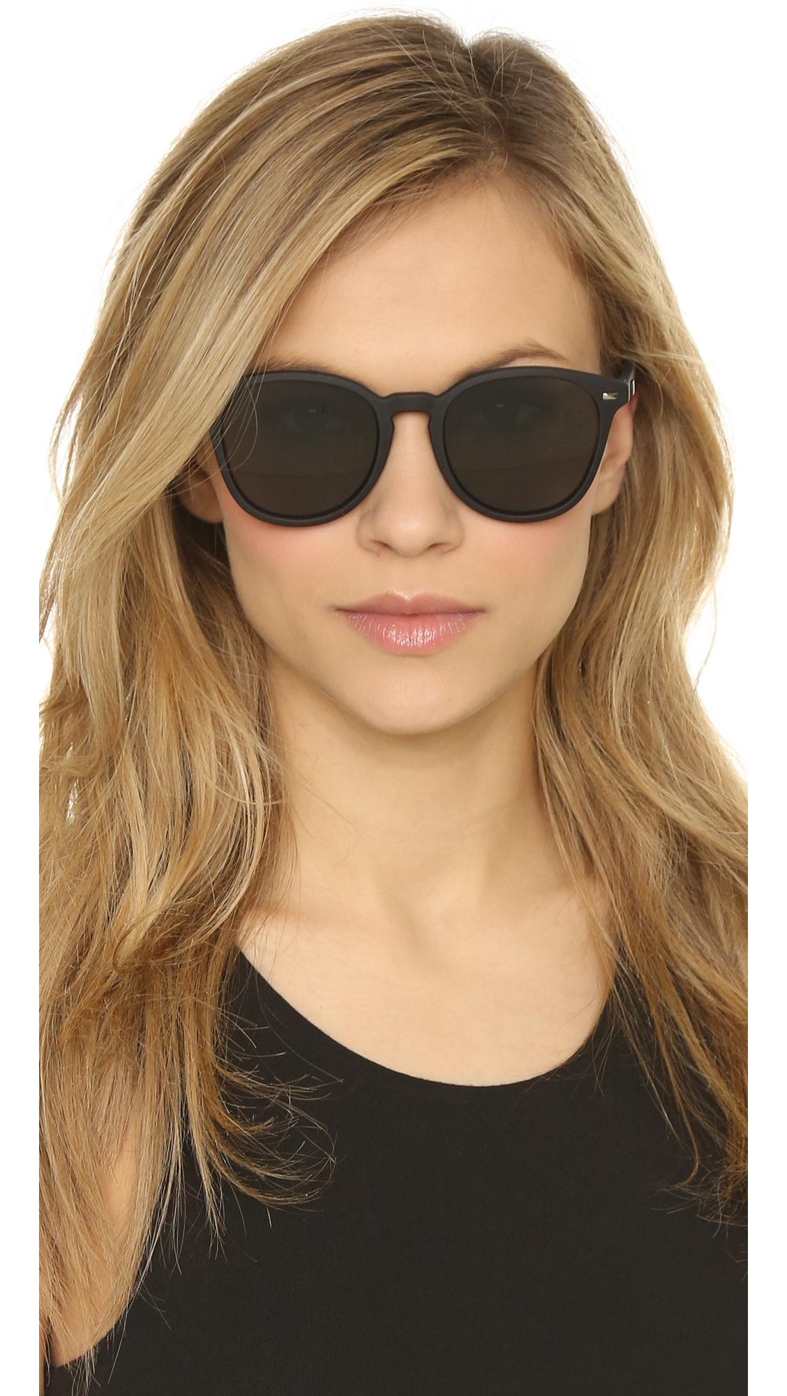 Le Specs Bandwagon Sunglasses In Black Black Rubber Khaki