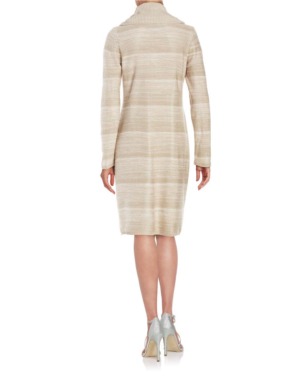 calvin klein cowlneck sweater dress in beige latte multi. Black Bedroom Furniture Sets. Home Design Ideas