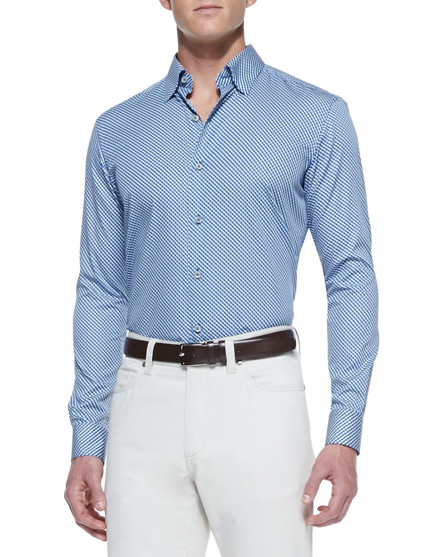 ermenegildo zegna circleprint sport shirt bluesage in blue for men lyst. Black Bedroom Furniture Sets. Home Design Ideas
