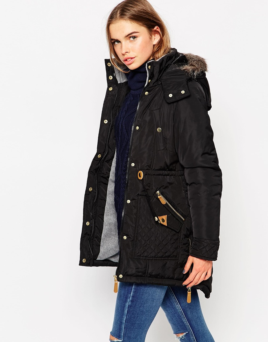 Vero moda Parka Jacket With Faux Fur Hood & Drawstring Waist in ...