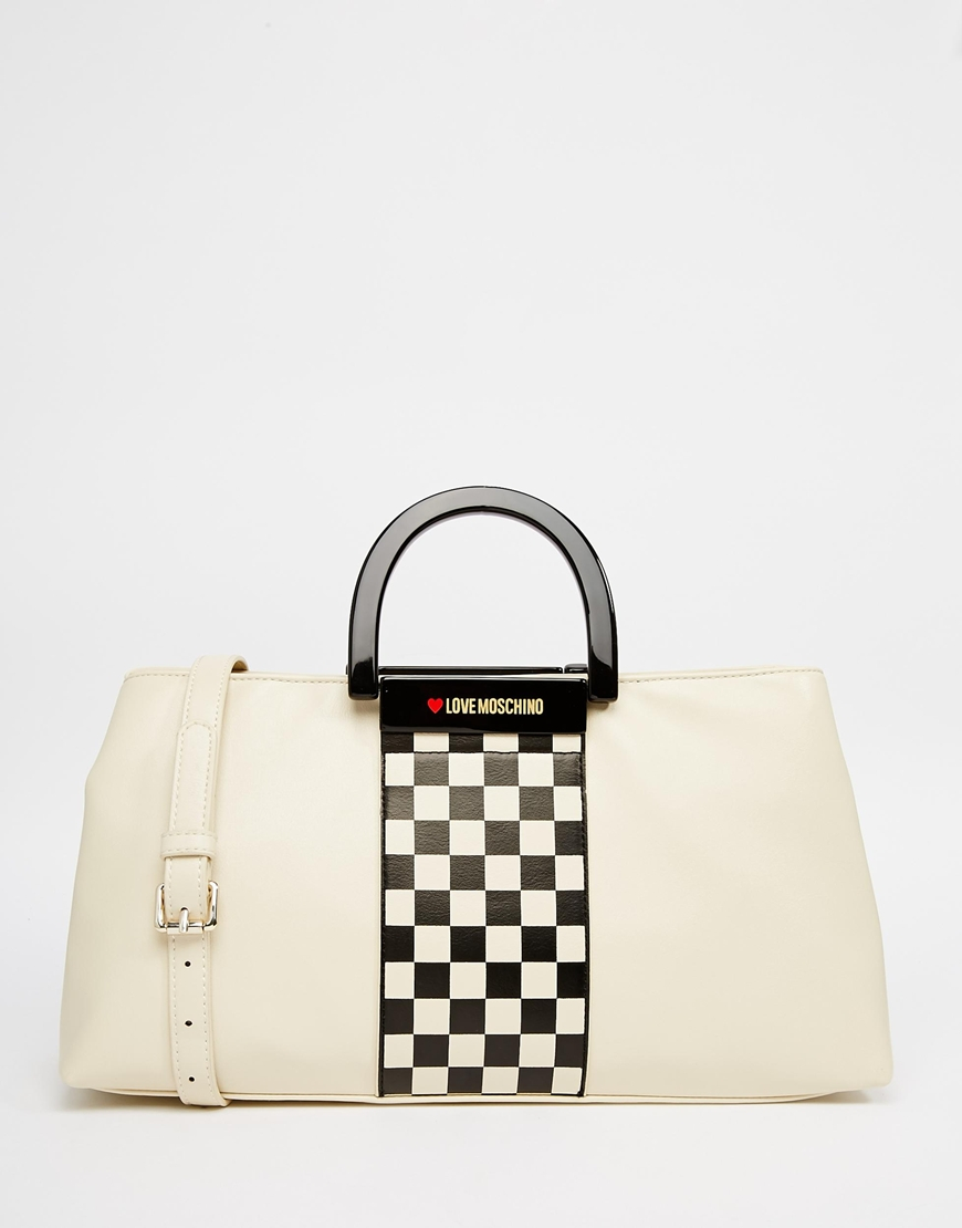 Love moschino Checkered Tote Bag in Natural | Lyst