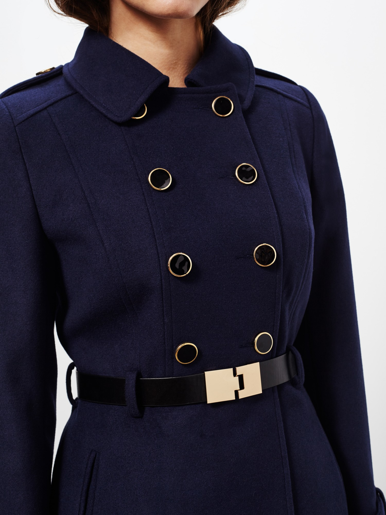 Miss selfridge Petite Military Coat in Blue   Lyst
