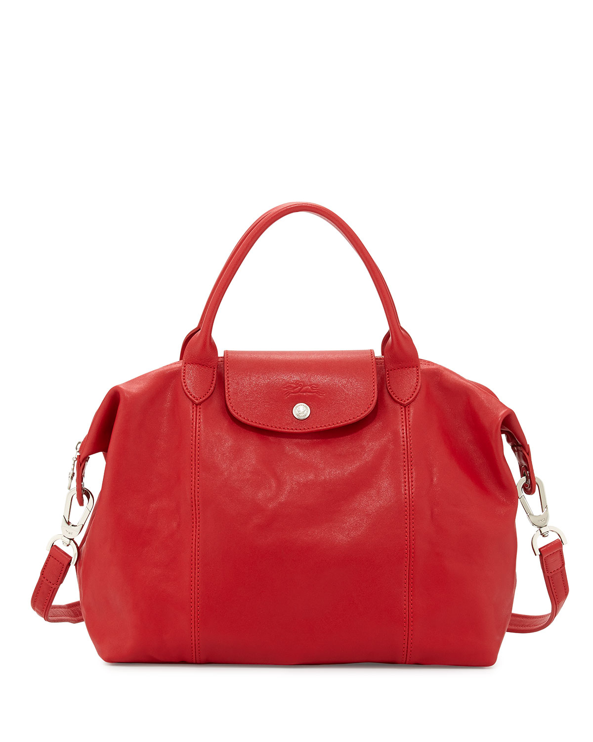 Longchamp Le Pliage Cuir Handbag With Strap in Red