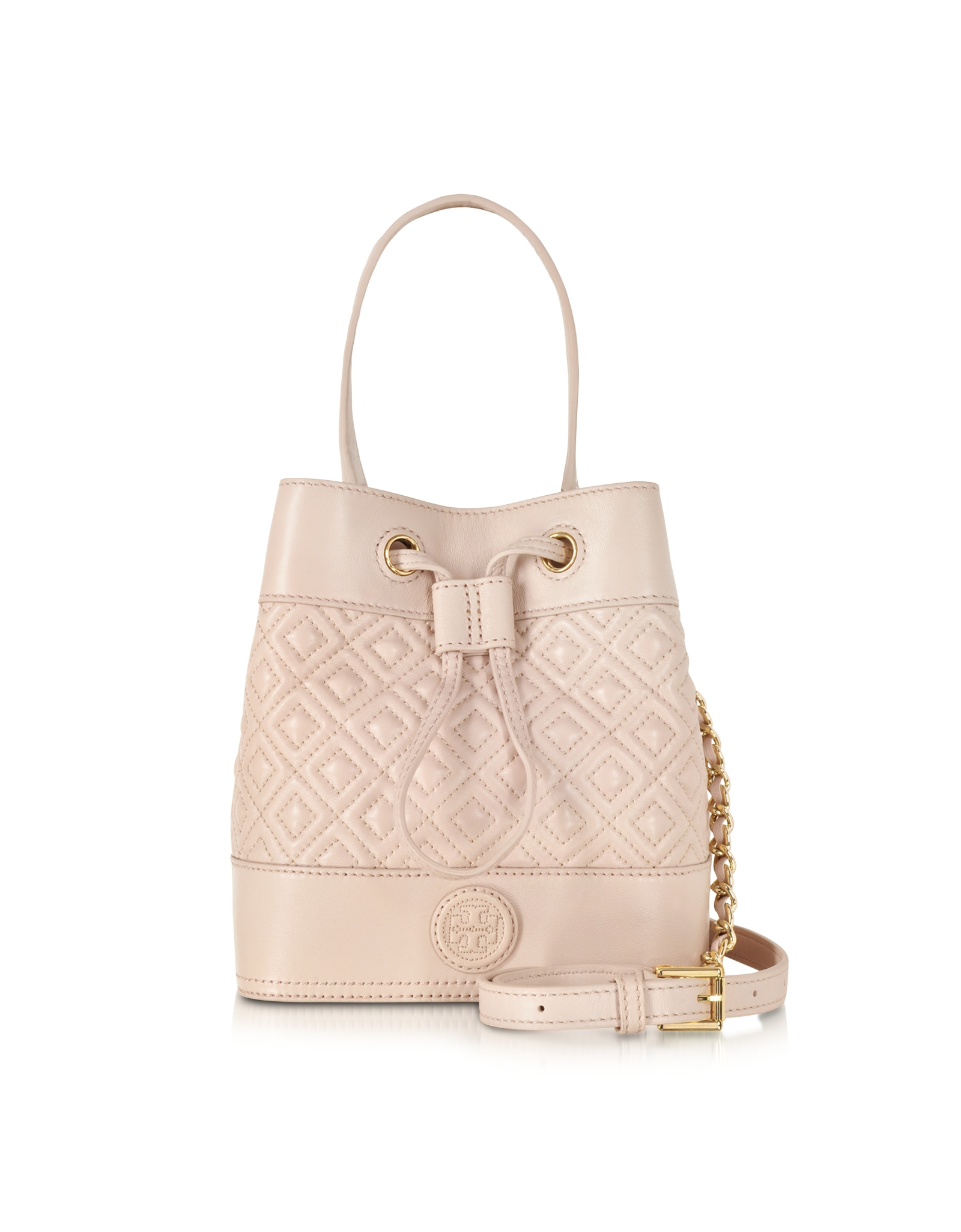 90d142290e0e Tory Burch Marion Light Oak Quilted Mini Bucket Bag in Natural - Lyst