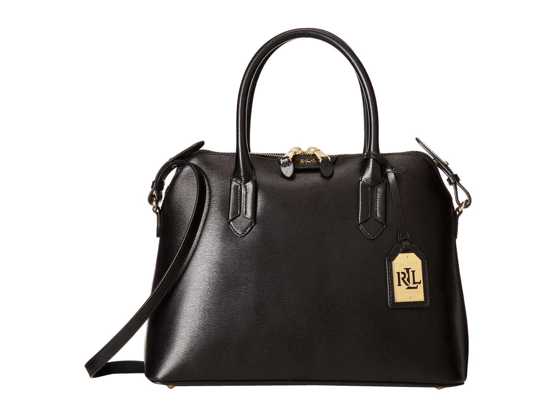 lauren by ralph lauren tate dome satchel in black black black gold lyst. Black Bedroom Furniture Sets. Home Design Ideas