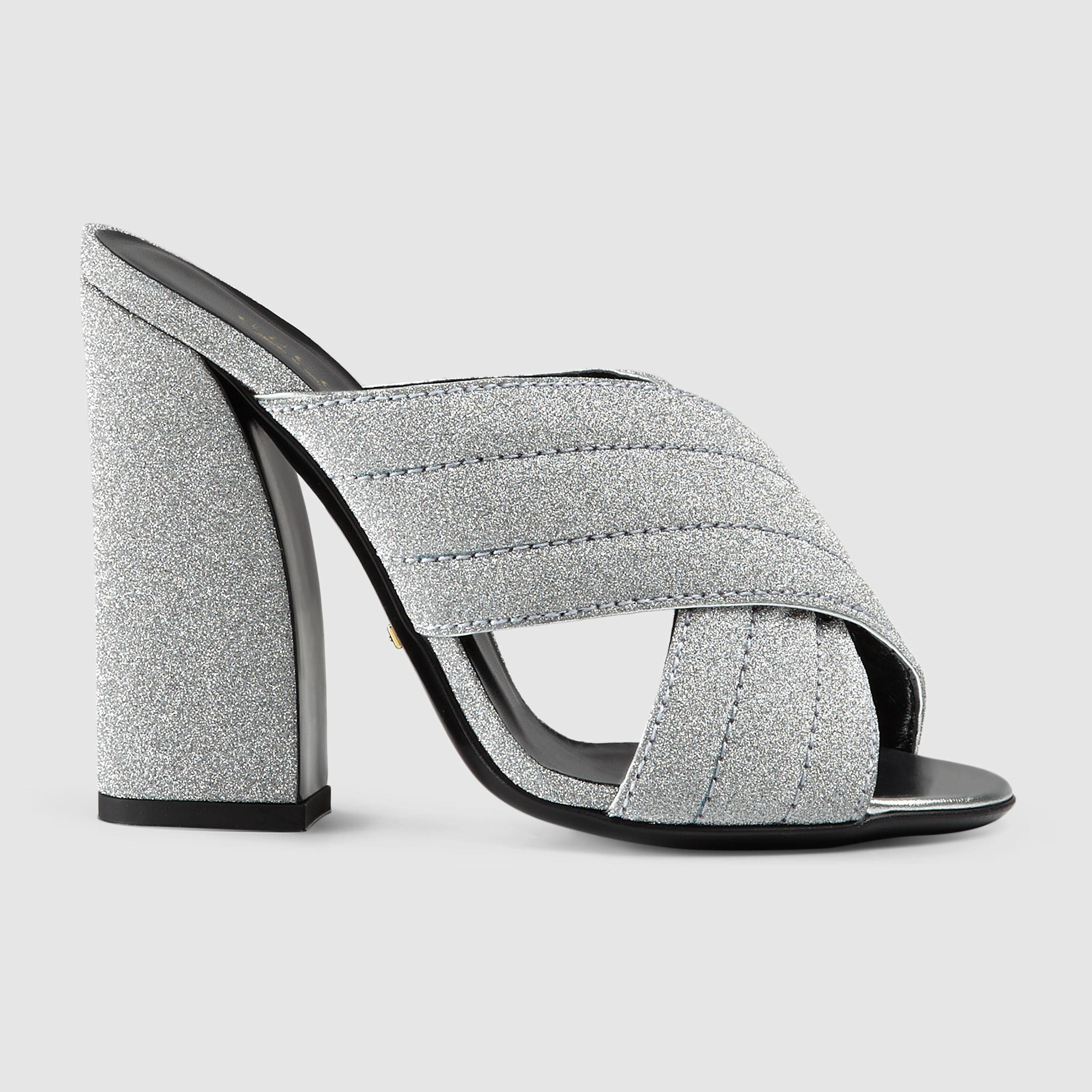 1f66e183b128 Lyst - Gucci Glitter Crossover Sandal in Metallic