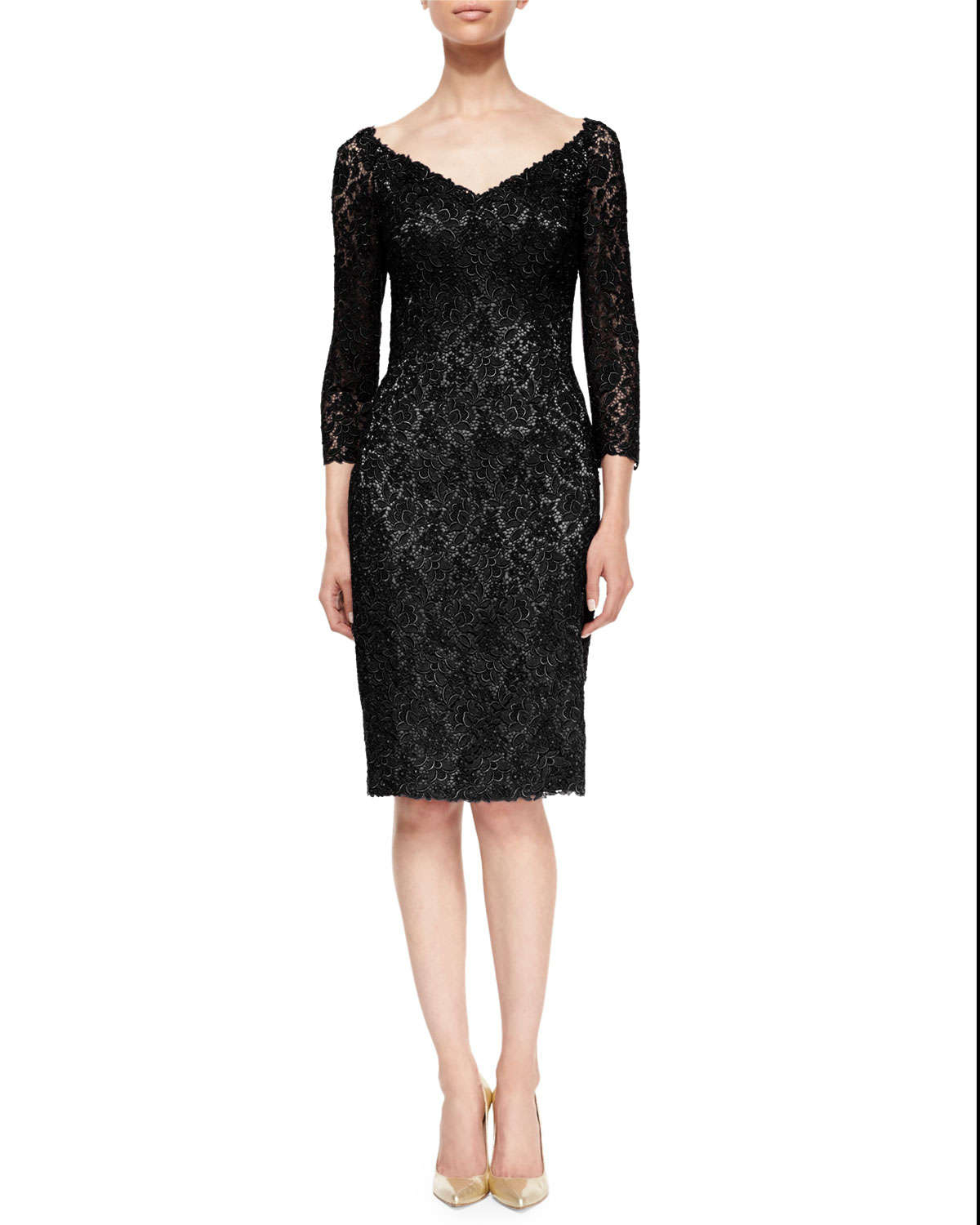 Helen morley 3/4-sleeve Floral Lace Cocktail Dress in Black | Lyst