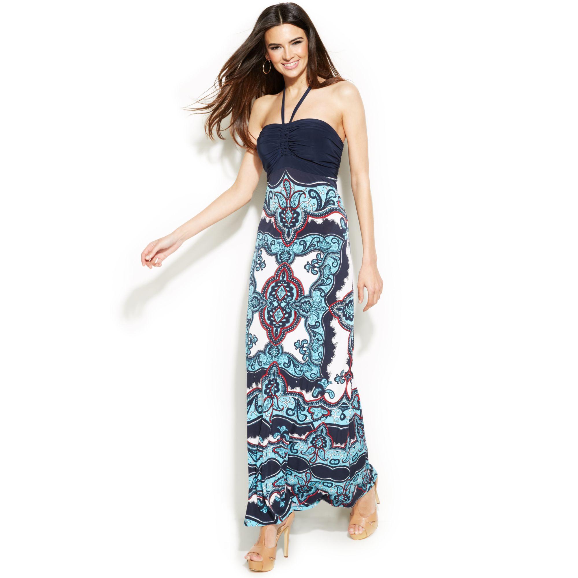 de00f5c23eba5 INC International Concepts Embellished Printed Halter Maxi Dress - Lyst