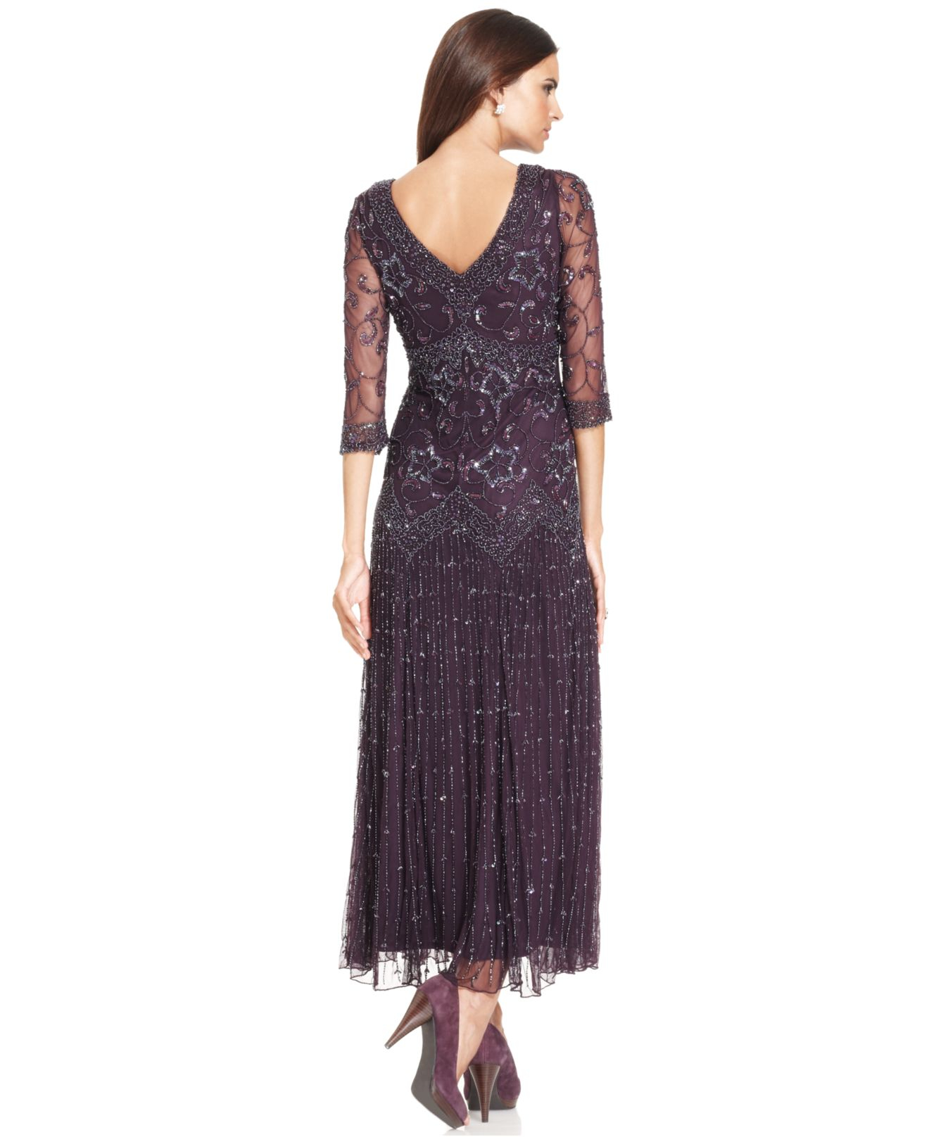 Lyst - Pisarro Nights Three-Quarter-Sleeve Beaded Gown in Metallic