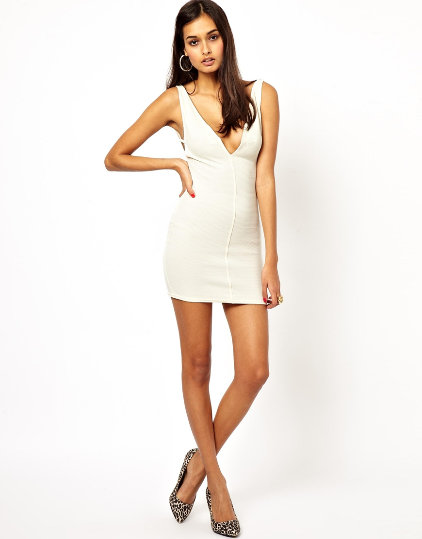 Lyst - Oh My Love Plunge Neck Bodycon Dress in Natural 4fc1feb86
