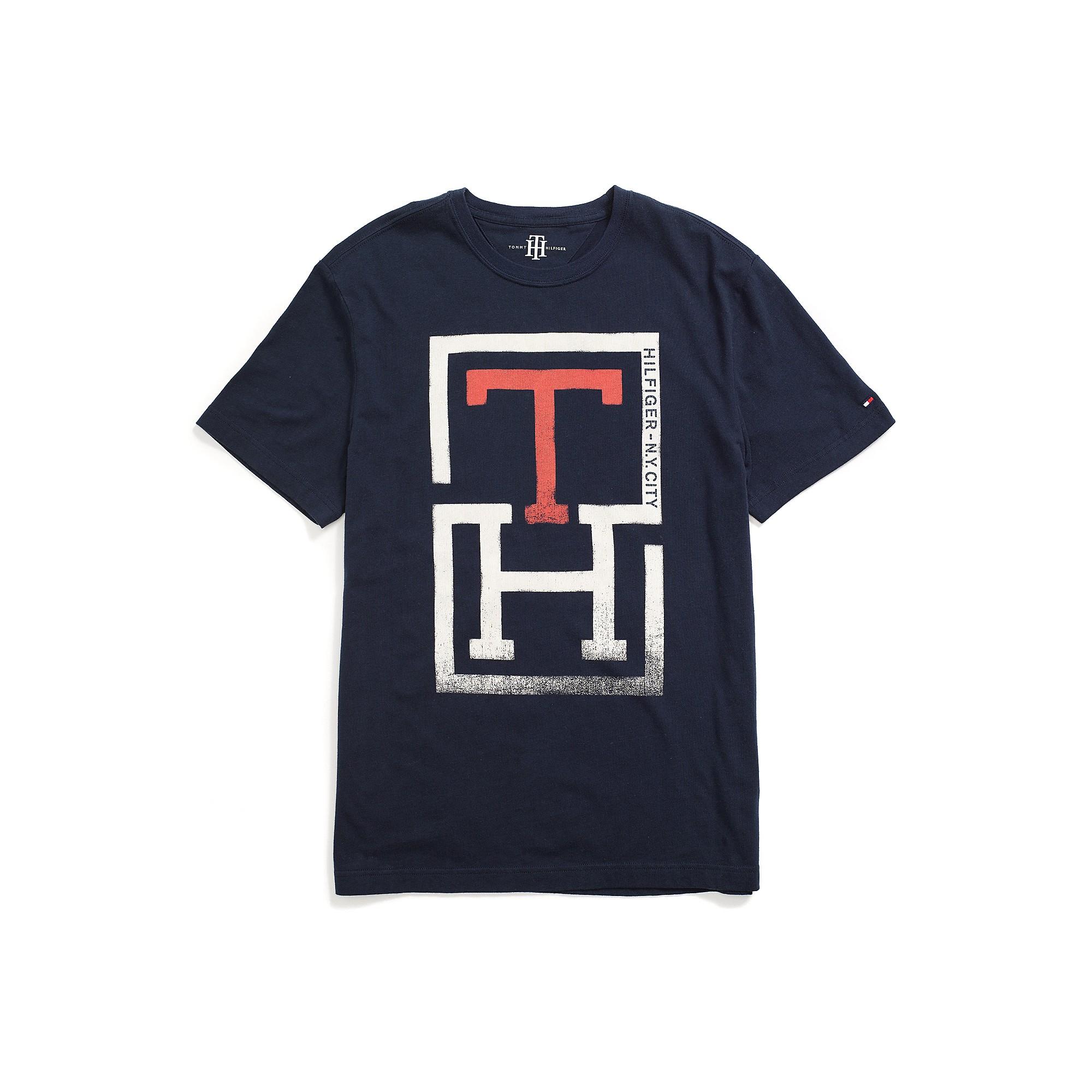 tommy hilfiger th logo tee in blue for men core navy lyst. Black Bedroom Furniture Sets. Home Design Ideas