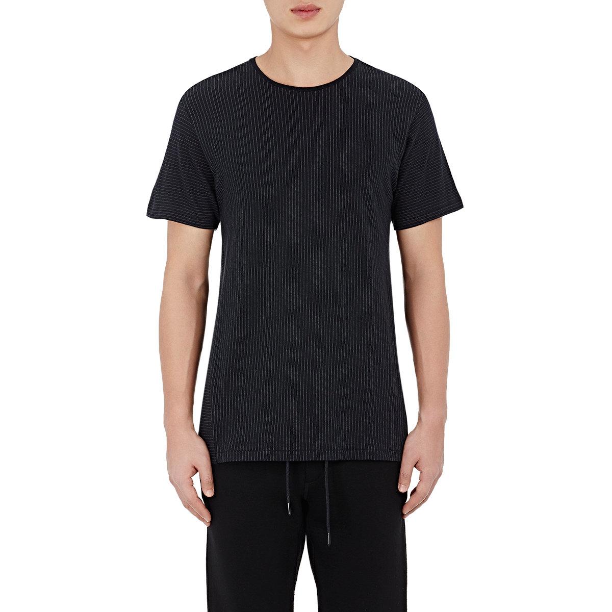 Rag bone men 39 s pinstriped jersey t shirt in blue for men for Rag bone shirt