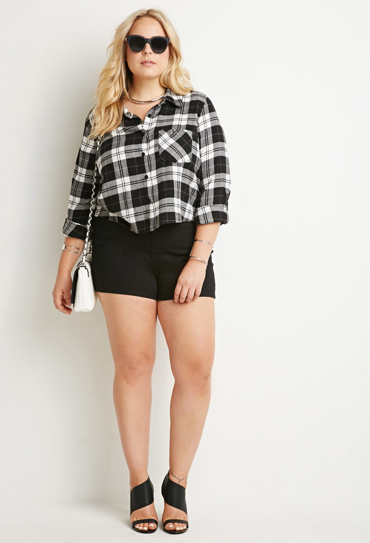 f026895c5d334 Lyst - Forever 21 Plus Size Flannel Plaid Shirt in Black