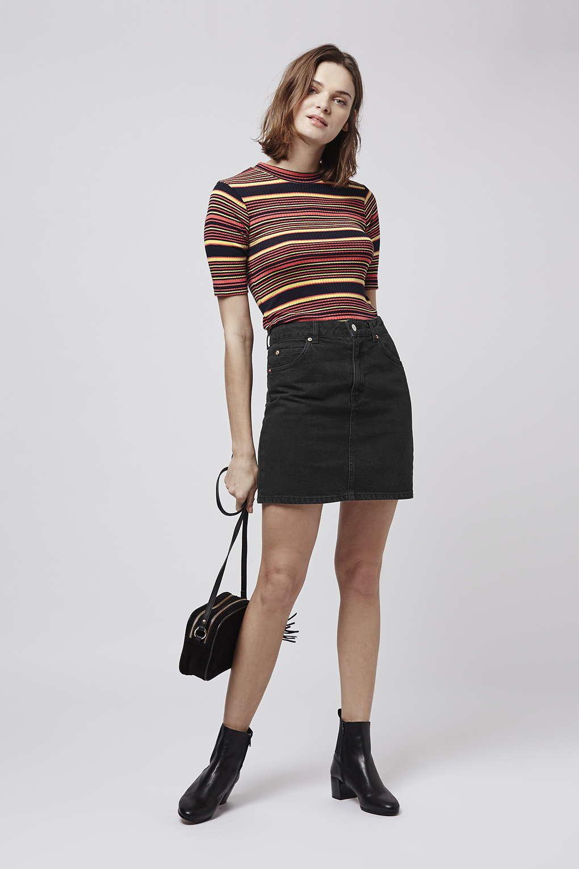 Topshop Petite Moto High Waist Denim Skirt in Black   Lyst