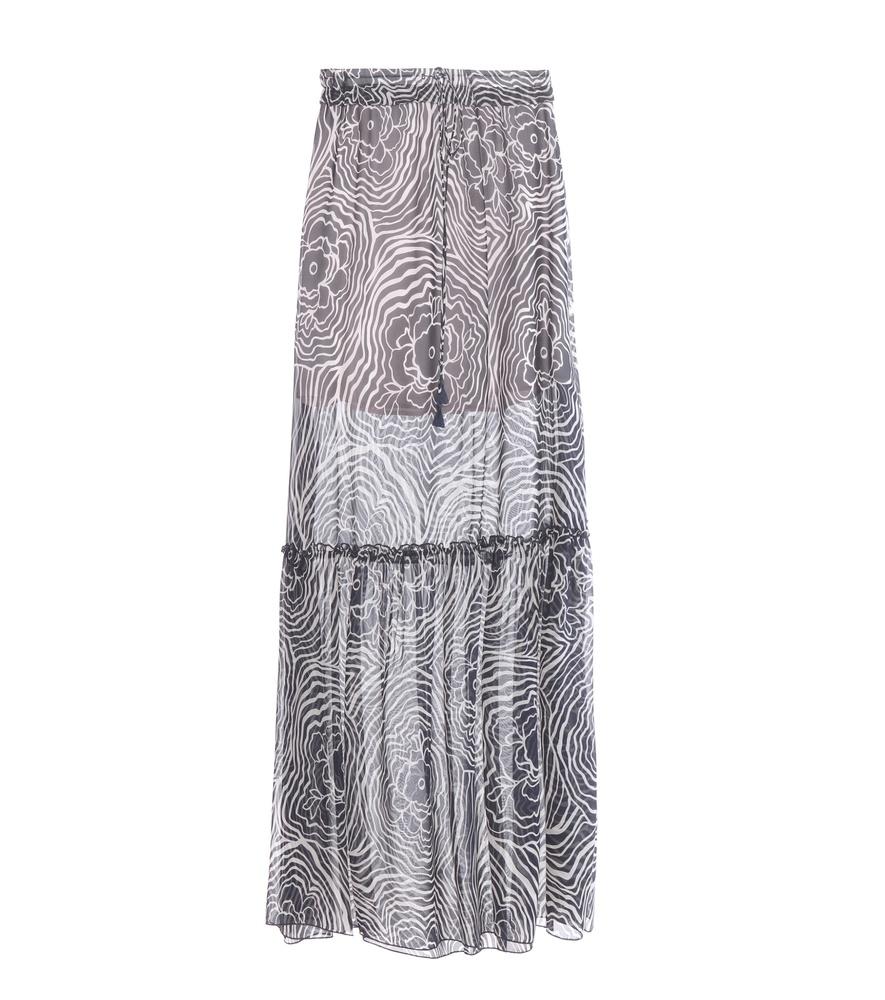 see by chlo 233 silk chiffon maxi skirt in blue lyst