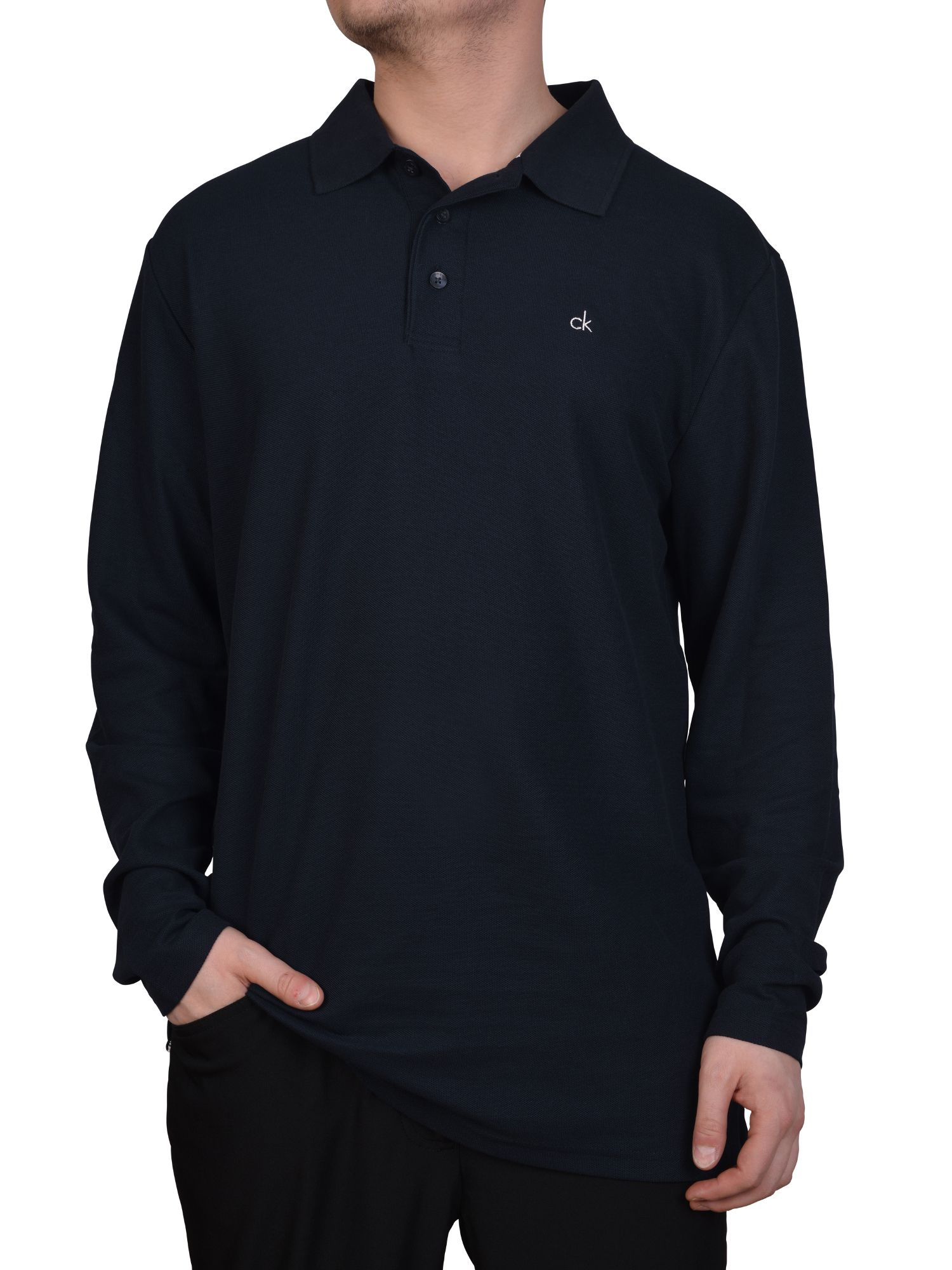 Calvin Klein Manhatton Long Sleeved Polo Shirt In Blue For