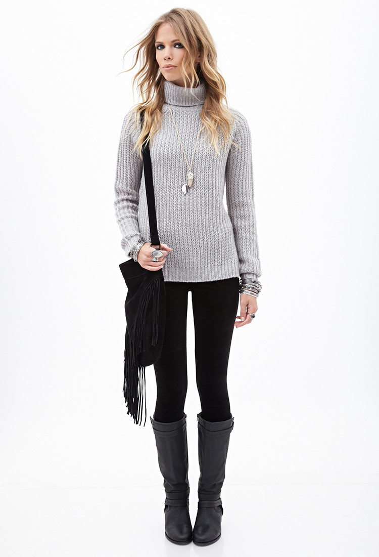 Forever 21 Ribbed Turtleneck Sweater in Gray | Lyst