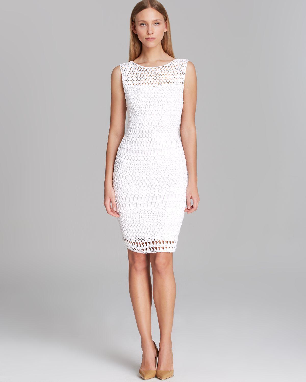 Lyst Calvin Klein Dress Sleeveless Open Crochet In White