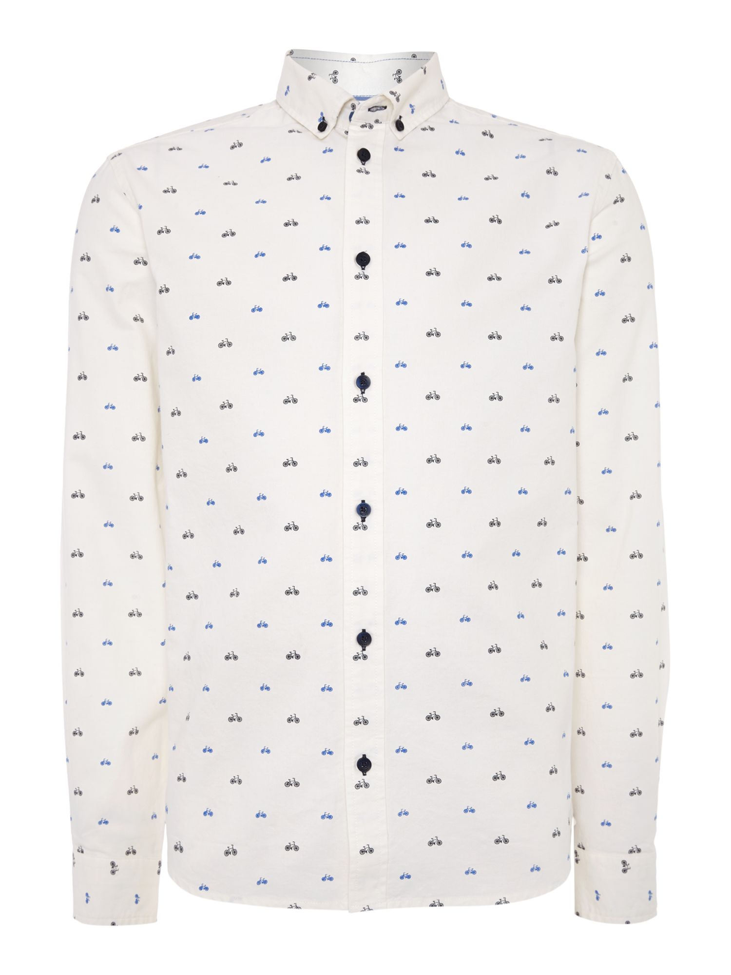 Casual Friday Print Long Sleeve Button Down Shirt In White