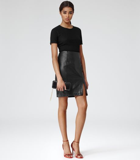 reiss emmy snake print leather skirt in black lyst