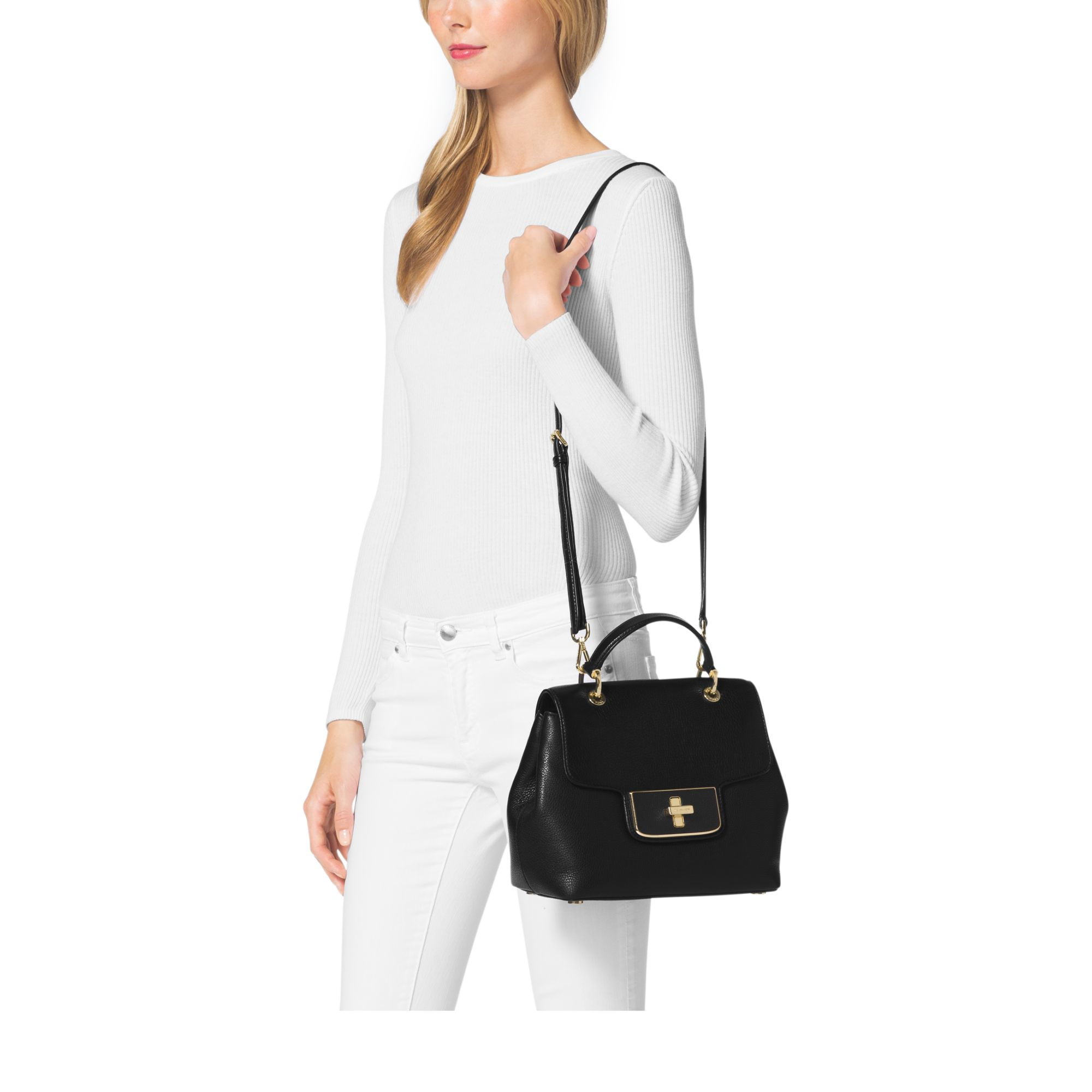 Lyst - Michael kors Emery Pebbled-Leather Satchel in Black