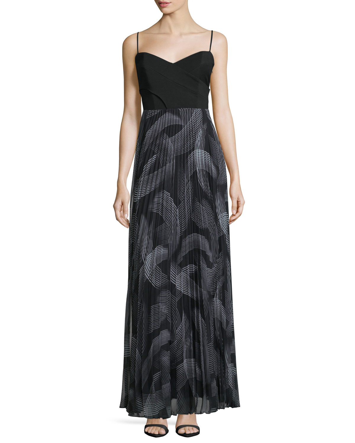 laundry by shelli segal sweetheart neck pleated skirt maxi