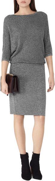 Moonlight Dress Knitting Pattern : Reiss Watson Metallic Knit Dress in Silver (Moonlight) Lyst